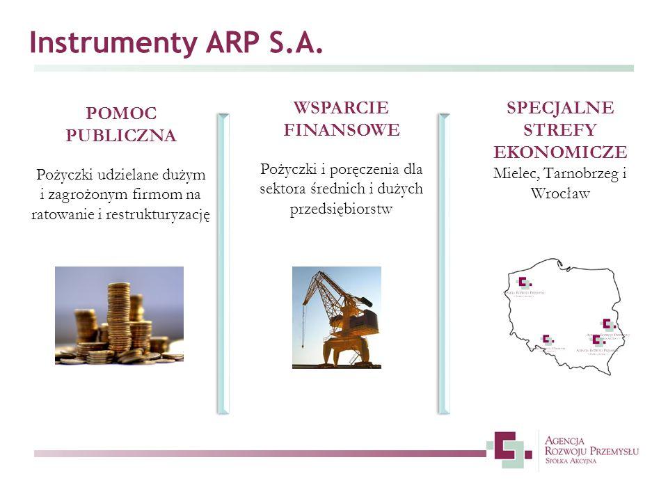 WSPARCIE FINANSOWE Pożyczki i poręczenia dla sektora średnich i dużych przedsiębiorstw Instrumenty ARP S.A. POMOC PUBLICZNA Pożyczki udzielane dużym i