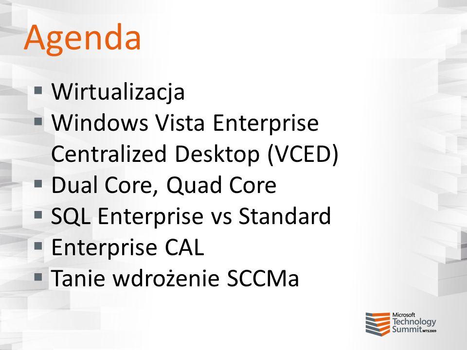Przypadek 3 SQL Server Standard 2 procesory, 2 rdzenie każdy Środowisko fizyczne Wymagane 4 licencje procesorowe SQL Server Standard 2 procesory wirtualne Środowisko wirtualne SQL Server Standard 2 procesory wirtualne Środowisko wirtualne