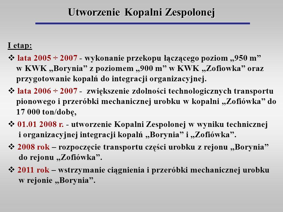 Utworzenie Kopalni Zespolonej I etap: lata 2005 ÷ 2007 - wykonanie przekopu łączącego poziom 950 m w KWK Borynia z poziomem 900 m w KWK Zofiowka oraz