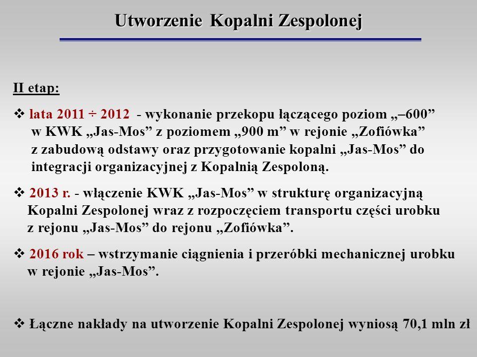 Utworzenie Kopalni Zespolonej II etap: lata 2011 ÷ 2012 - wykonanie przekopu łączącego poziom –600 w KWK Jas-Mos z poziomem 900 m w rejonie Zofiówka z