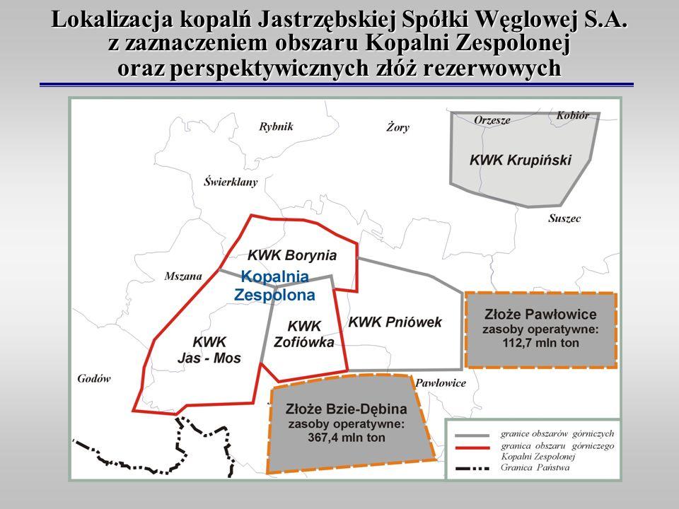Lokalizacja kopalń Jastrzębskiej Spółki Węglowej S.A. z zaznaczeniem obszaru Kopalni Zespolonej oraz perspektywicznych złóż rezerwowych