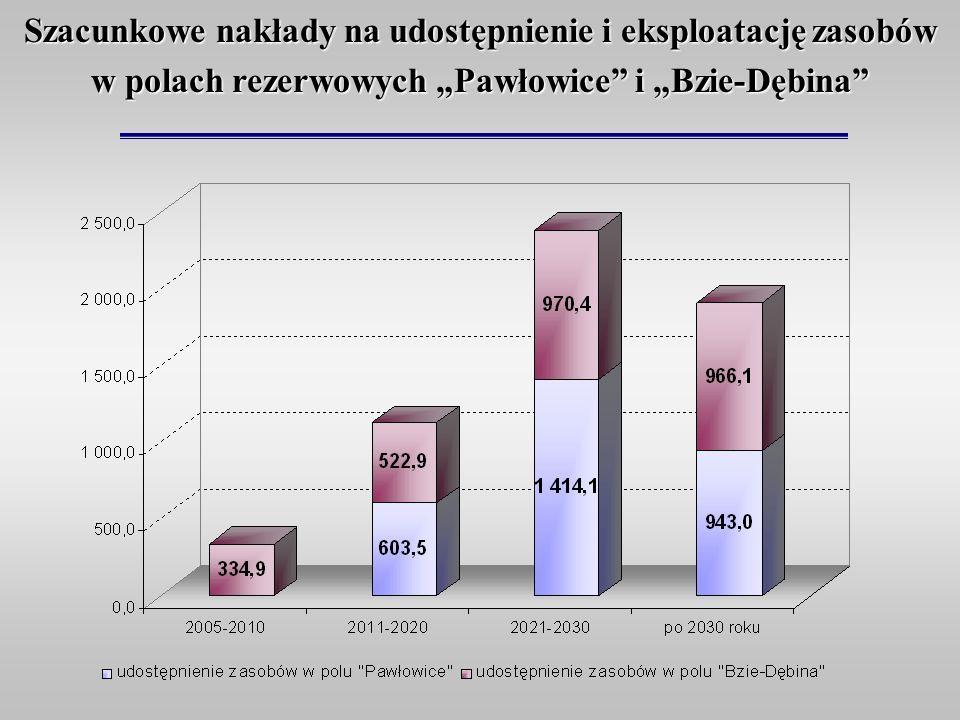 Szacunkowe nakłady na udostępnienie i eksploatację zasobów w polach rezerwowych Pawłowice i Bzie-Dębina