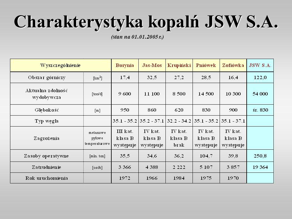 Charakterystyka kopalń JSW S.A. (stan na 01.01.2005 r.)