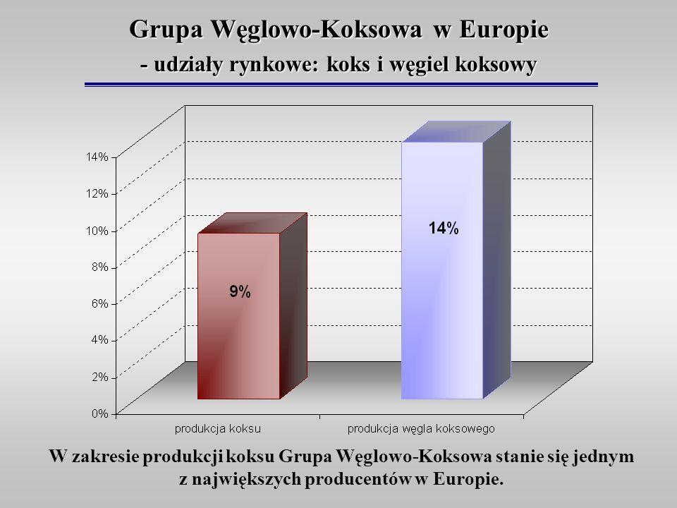 Grupa Węglowo-Koksowa w Europie - udziały rynkowe: koks i węgiel koksowy W zakresie produkcji koksu Grupa Węglowo-Koksowa stanie się jednym z najwięks