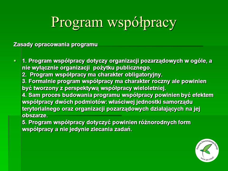 Program współpracy Zasady opracowania programu 1.