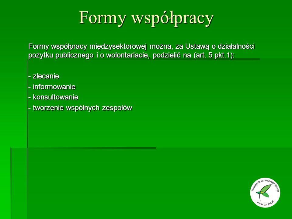 Formy współpracy Formy współpracy międzysektorowej można, za Ustawą o działalności pożytku publicznego i o wolontariacie, podzielić na (art.