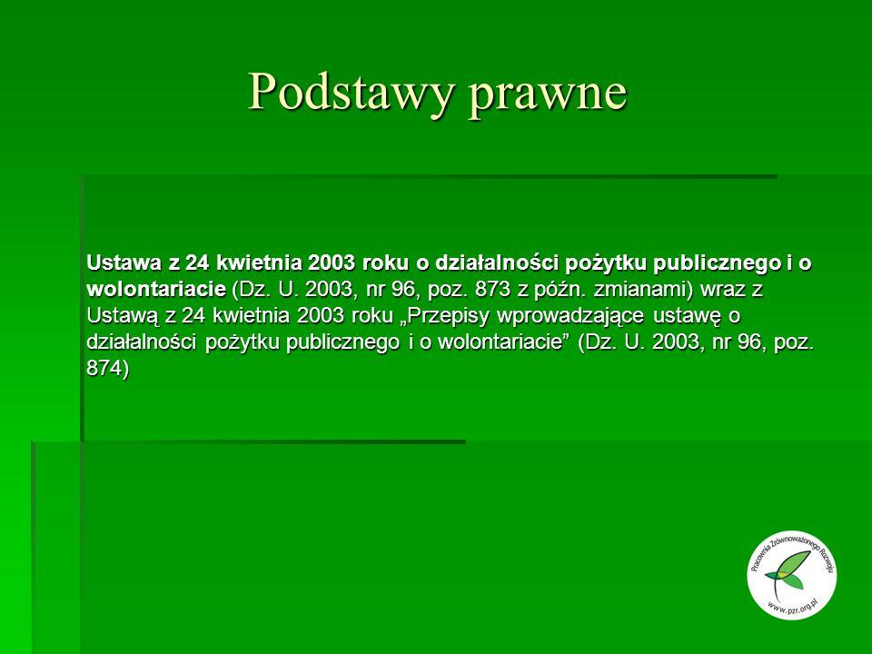 Podstawy prawne Ustawa z 24 kwietnia 2003 roku o działalności pożytku publicznego i o wolontariacie (Dz.