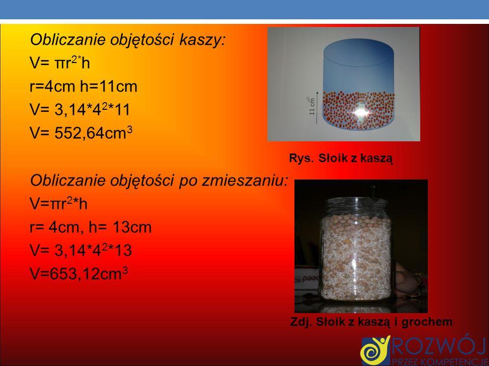 Obliczanie objętości kaszy: V= πr 2* h r=4cm h=11cm V= 3,14*4 2 *11 V= 552,64cm 3 Rys.