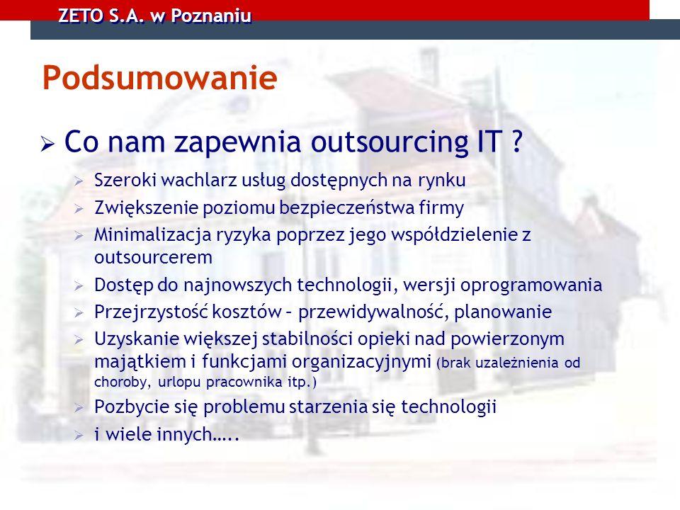 ZETO S.A. w Poznaniu Podsumowanie Co nam zapewnia outsourcing IT ? Szeroki wachlarz usług dostępnych na rynku Zwiększenie poziomu bezpieczeństwa firmy