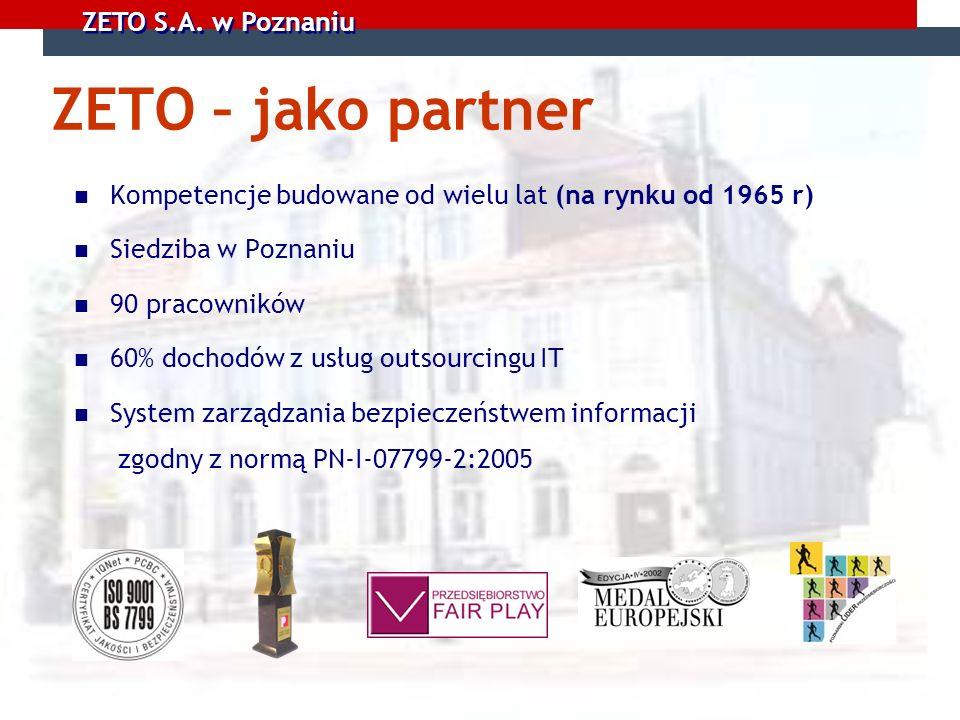 ZETO S.A. w Poznaniu ZETO – jako partner Kompetencje budowane od wielu lat (na rynku od 1965 r) Siedziba w Poznaniu 90 pracowników 60% dochodów z usłu