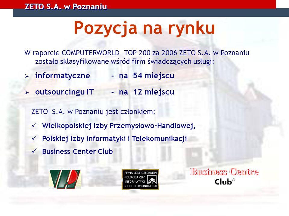 ZETO S.A. w Poznaniu Pozycja na rynku ZETO S.A. w Poznaniu jest członkiem: Wielkopolskiej Izby Przemysłowo-Handlowej, Polskiej Izby Informatyki i Tele