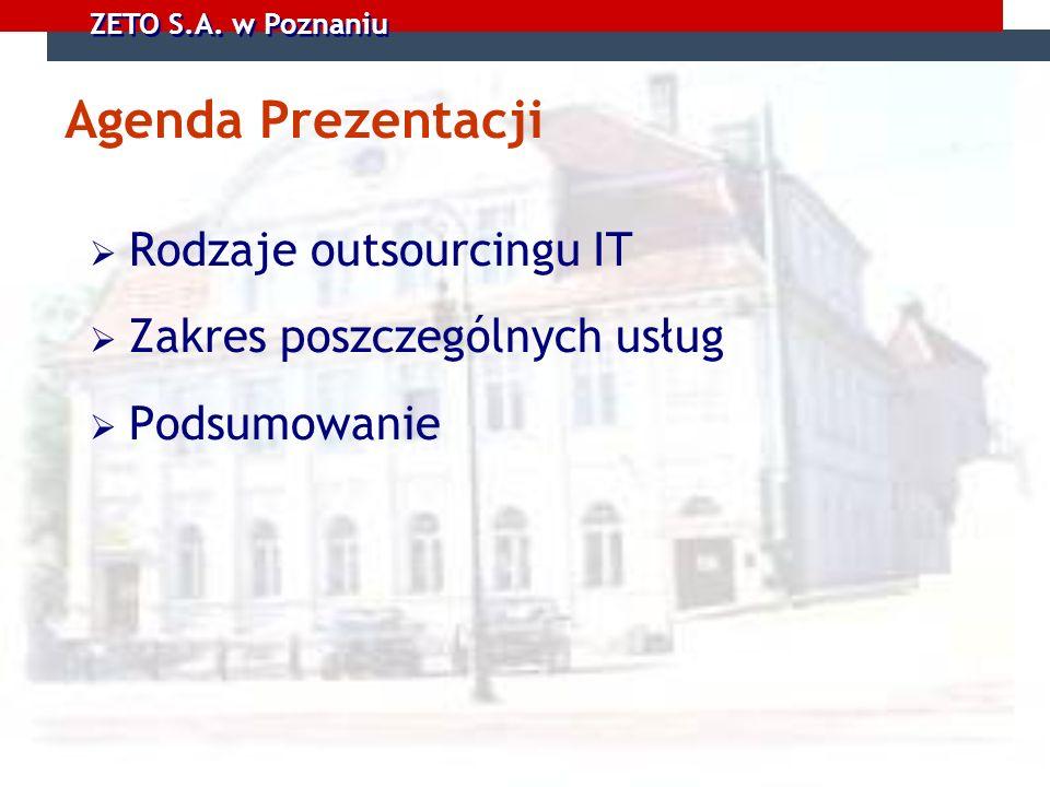 ZETO S.A. w Poznaniu Agenda Prezentacji Rodzaje outsourcingu IT Zakres poszczególnych usług Podsumowanie