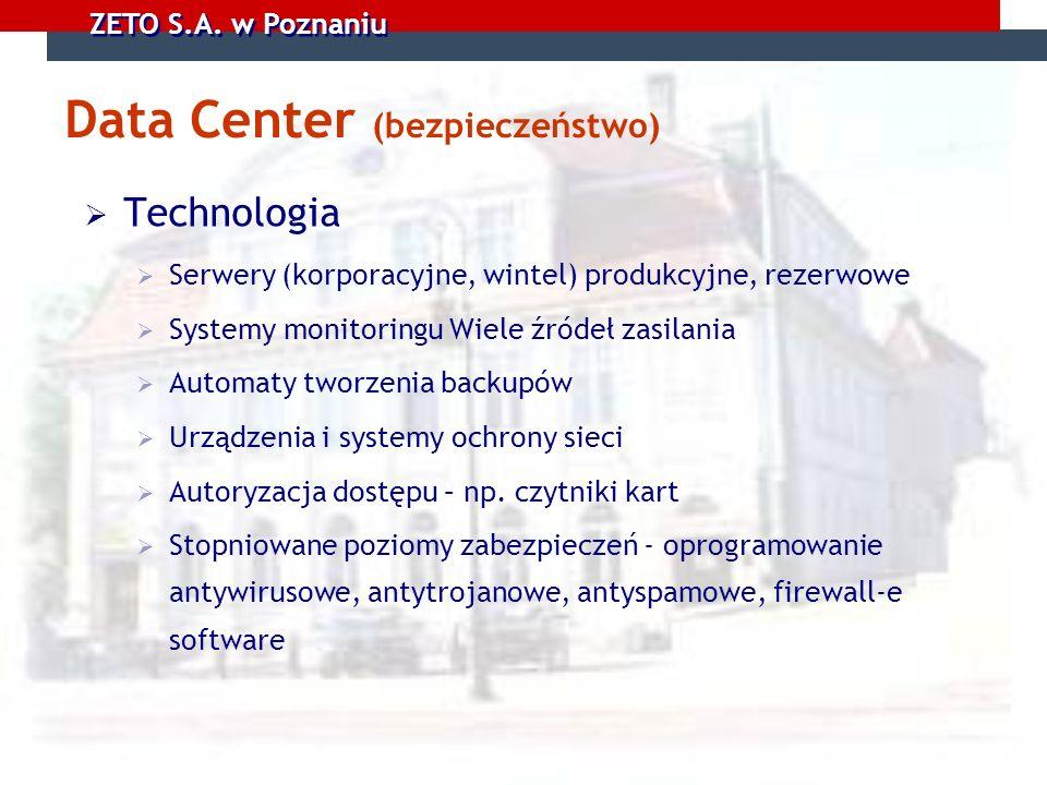 ZETO S.A. w Poznaniu Data Center (bezpieczeństwo) Technologia Serwery (korporacyjne, wintel) produkcyjne, rezerwowe Systemy monitoringu Wiele źródeł z