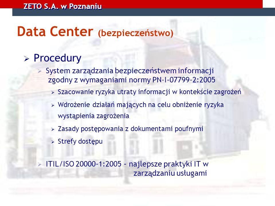 ZETO S.A. w Poznaniu Data Center (bezpieczeństwo) Procedury System zarządzania bezpieczeństwem informacji zgodny z wymaganiami normy PN-I-07799-2:2005