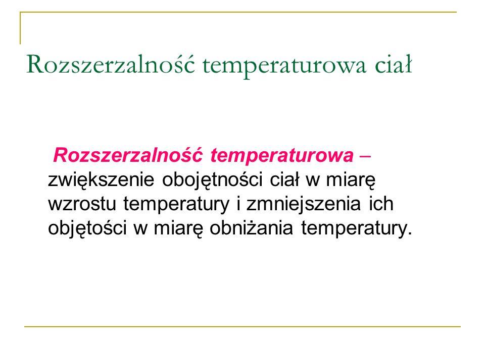 Rozszerzalność temperaturowa ciał Rozszerzalność temperaturowa – zwiększenie obojętności ciał w miarę wzrostu temperatury i zmniejszenia ich objętości