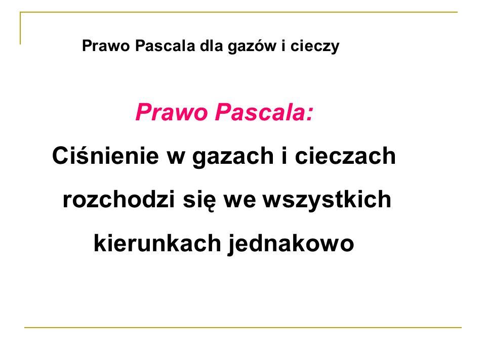 Prawo Pascala: Ciśnienie w gazach i cieczach rozchodzi się we wszystkich kierunkach jednakowo Prawo Pascala dla gazów i cieczy