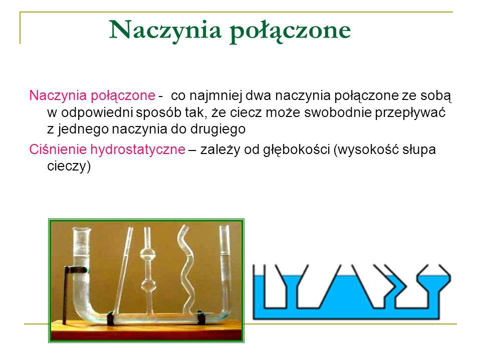 Naczynia połączone Naczynia połączone - co najmniej dwa naczynia połączone ze sobą w odpowiedni sposób tak, że ciecz może swobodnie przepływać z jedne