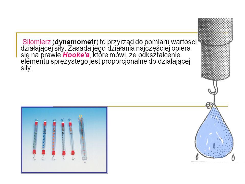 Siłomierz (dynamometr) to przyrząd do pomiaru wartości działającej siły. Zasada jego działania najczęściej opiera się na prawie Hooke'a, które mówi, ż