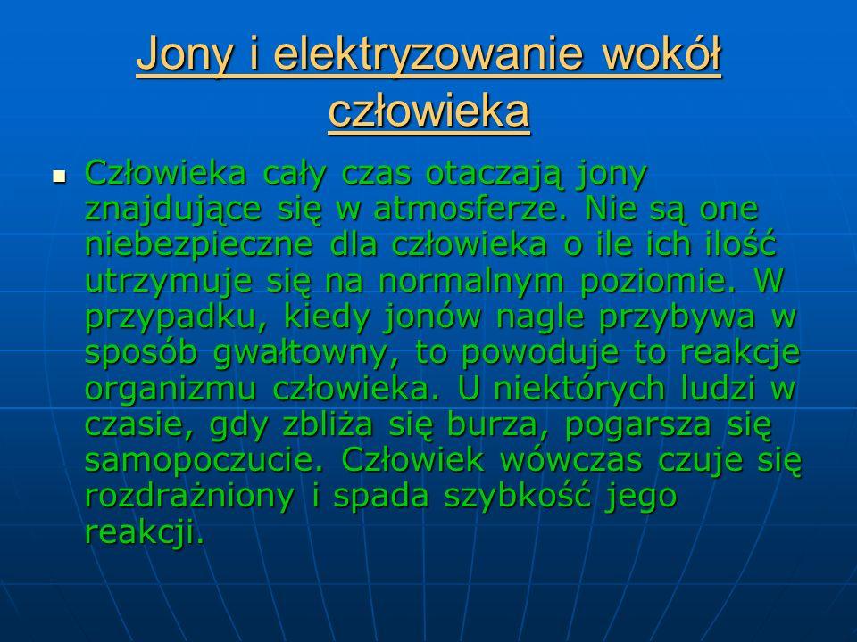 Jony i elektryzowanie wokół człowieka Człowieka cały czas otaczają jony znajdujące się w atmosferze.