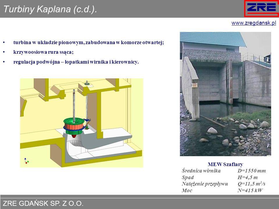 ZRE GDAŃSK SP. Z O.O. www.zregdansk.pl Turbiny Kaplana (c.d.). turbina w układzie pionowym, zabudowana w komorze otwartej; krzywoosiowa rura ssąca; re