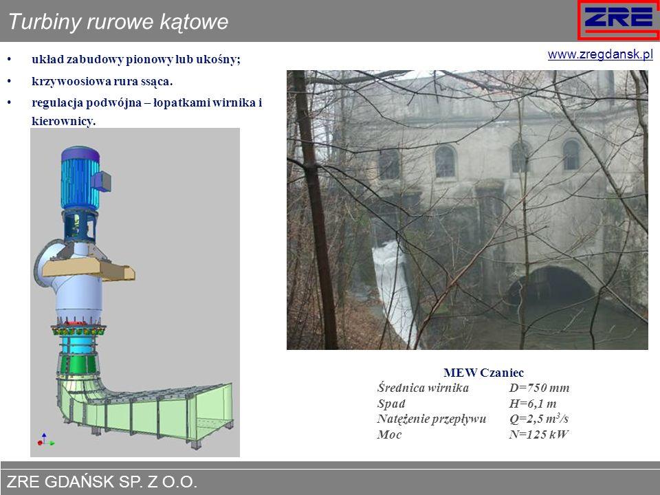 ZRE GDAŃSK SP. Z O.O. www.zregdansk.pl Turbiny rurowe kątowe układ zabudowy pionowy lub ukośny; krzywoosiowa rura ssąca. regulacja podwójna – łopatkam