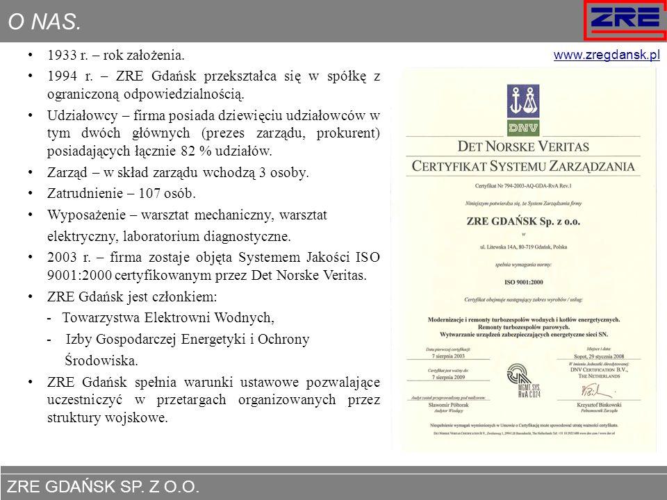 ZRE GDAŃSK SP. Z O.O. www.zregdansk.pl O NAS. 1933 r. – rok założenia. 1994 r. – ZRE Gdańsk przekształca się w spółkę z ograniczoną odpowiedzialnością