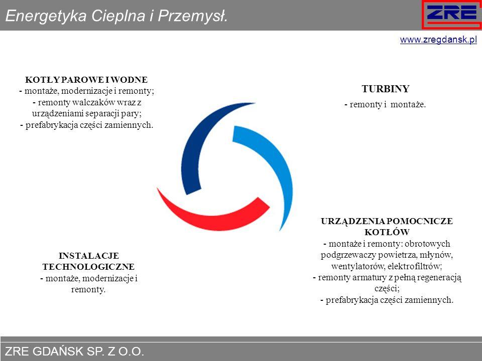 ZRE GDAŃSK SP. Z O.O. www.zregdansk.pl Energetyka Cieplna i Przemysł. KOTŁY PAROWE I WODNE - montaże, modernizacje i remonty; montaże, modernizacje i