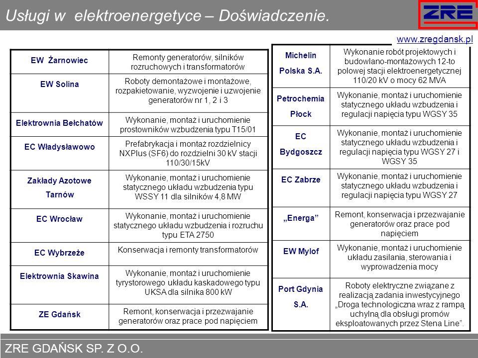 ZRE GDAŃSK SP. Z O.O. www.zregdansk.pl Usługi w elektroenergetyce – Doświadczenie. EW Żarnowiec Remonty generatorów, silników rozruchowych i transform