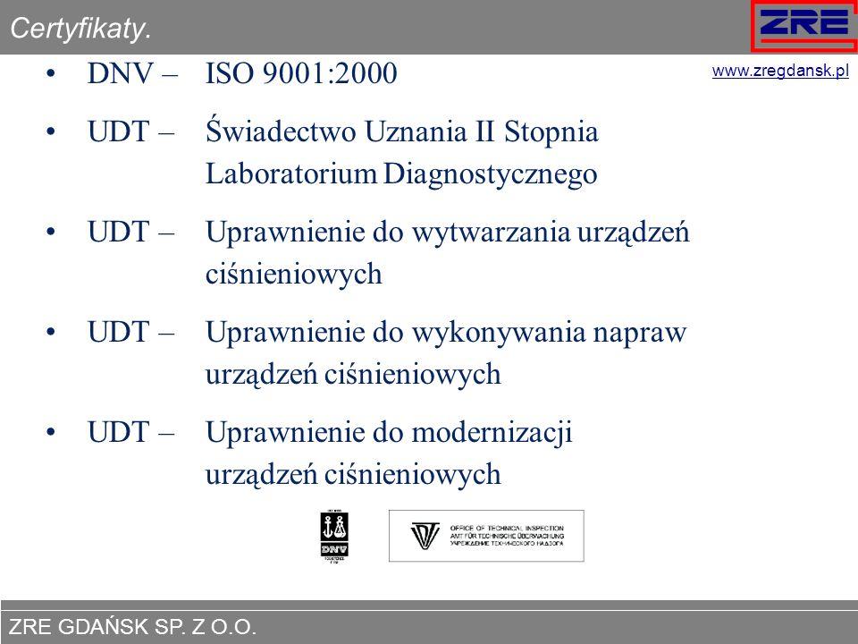 ZRE GDAŃSK SP. Z O.O. www.zregdansk.pl Certyfikaty. DNV – ISO 9001:2000 UDT – Świadectwo Uznania II Stopnia Laboratorium Diagnostycznego UDT – Uprawni