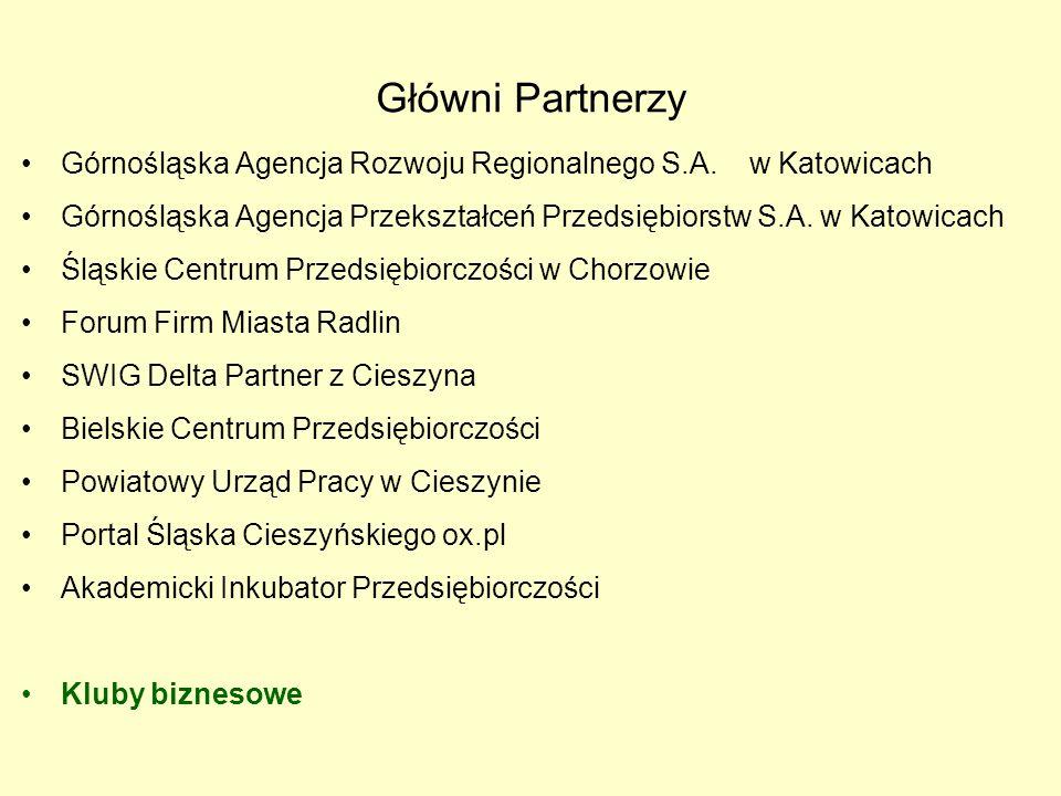 Główni Partnerzy Górnośląska Agencja Rozwoju Regionalnego S.A.