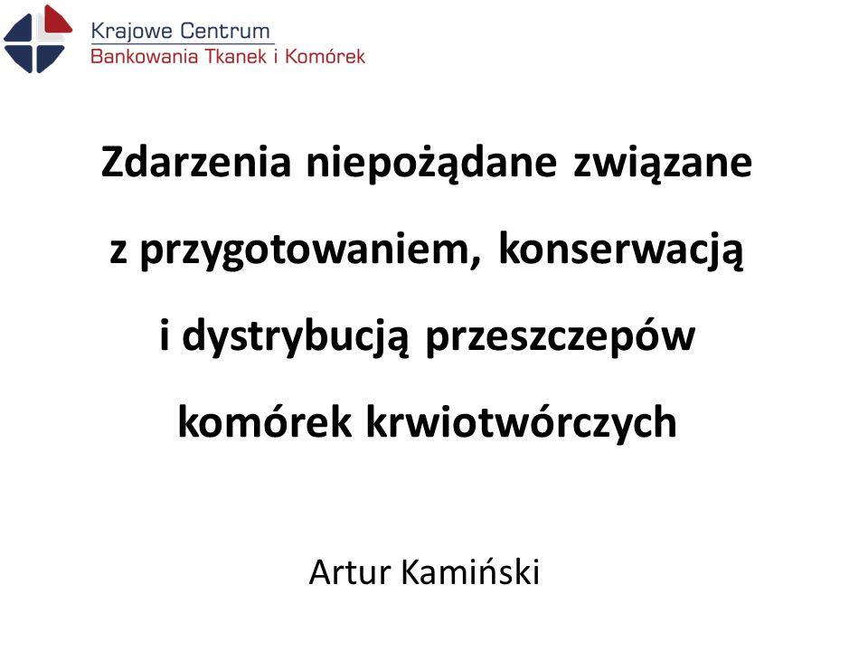 Zdarzenia niepożądane związane z przygotowaniem, konserwacją i dystrybucją przeszczepów komórek krwiotwórczych Artur Kamiński