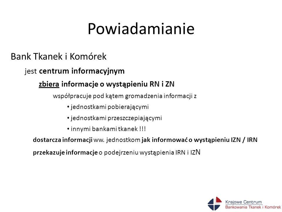 Powiadamianie Bank Tkanek i Komórek jest centrum informacyjnym zbiera informacje przekazuje informacje - bezzwłocznie przekazuje właściwemu organowi wszystkie właściwe i dostępne informacje nt podejrzenia wystąpienia IRN / IZN 2006/86/WE III cz.