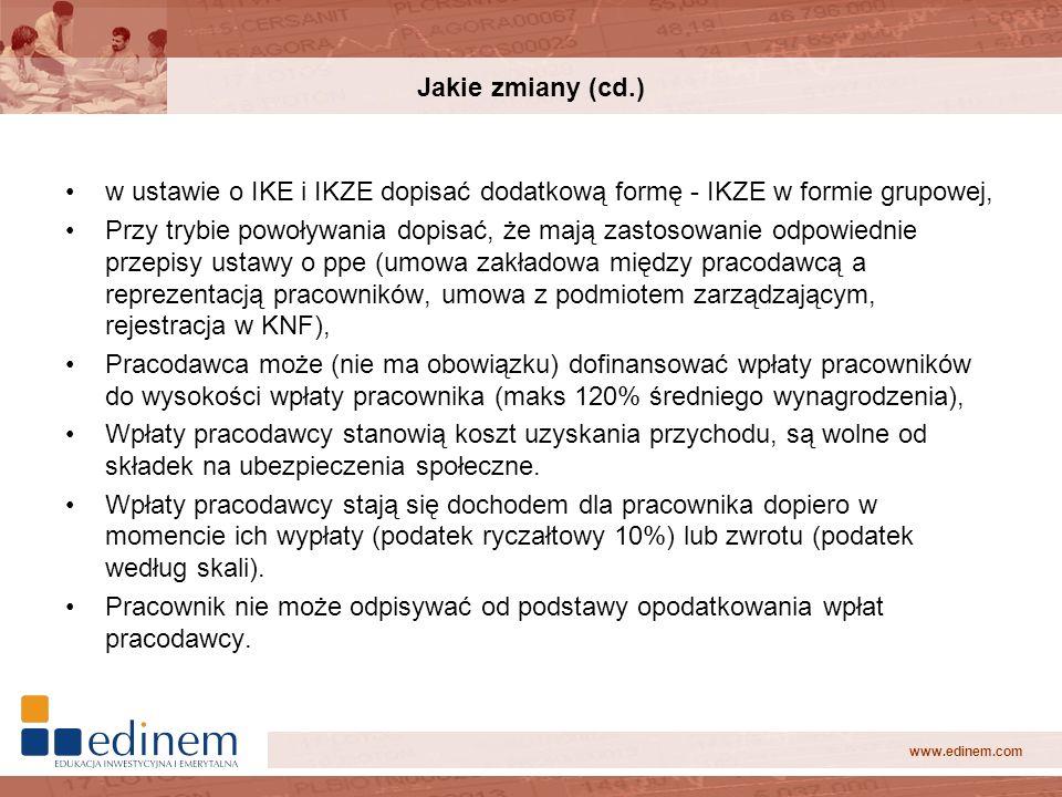 www.edinem.com Jakie zmiany (cd.) w ustawie o IKE i IKZE dopisać dodatkową formę - IKZE w formie grupowej, Przy trybie powoływania dopisać, że mają za