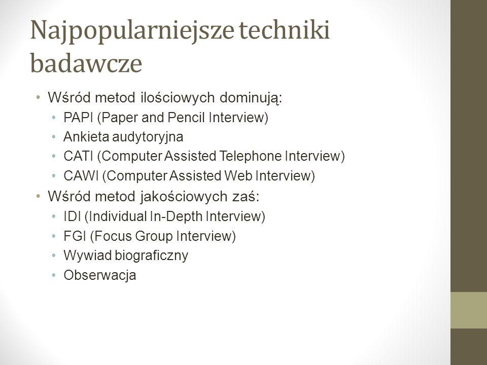 Najpopularniejsze techniki badawcze Wśród metod ilościowych dominują: PAPI (Paper and Pencil Interview) Ankieta audytoryjna CATI (Computer Assisted Te