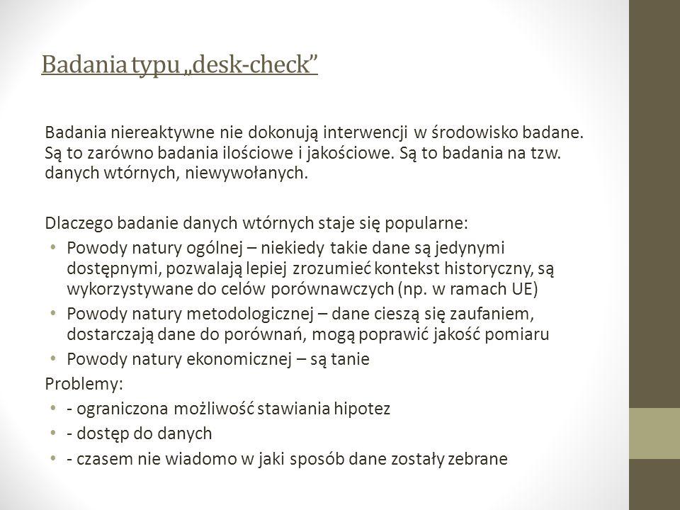 Badania typu desk-check Badania niereaktywne nie dokonują interwencji w środowisko badane.