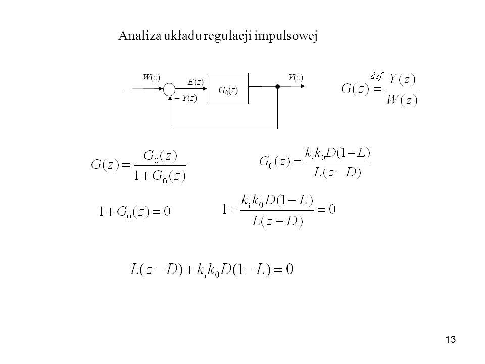 13 Analiza układu regulacji impulsowej Y(z)Y(z) G0(z)G0(z) – Y(z) W(z)W(z) E(z)E(z)