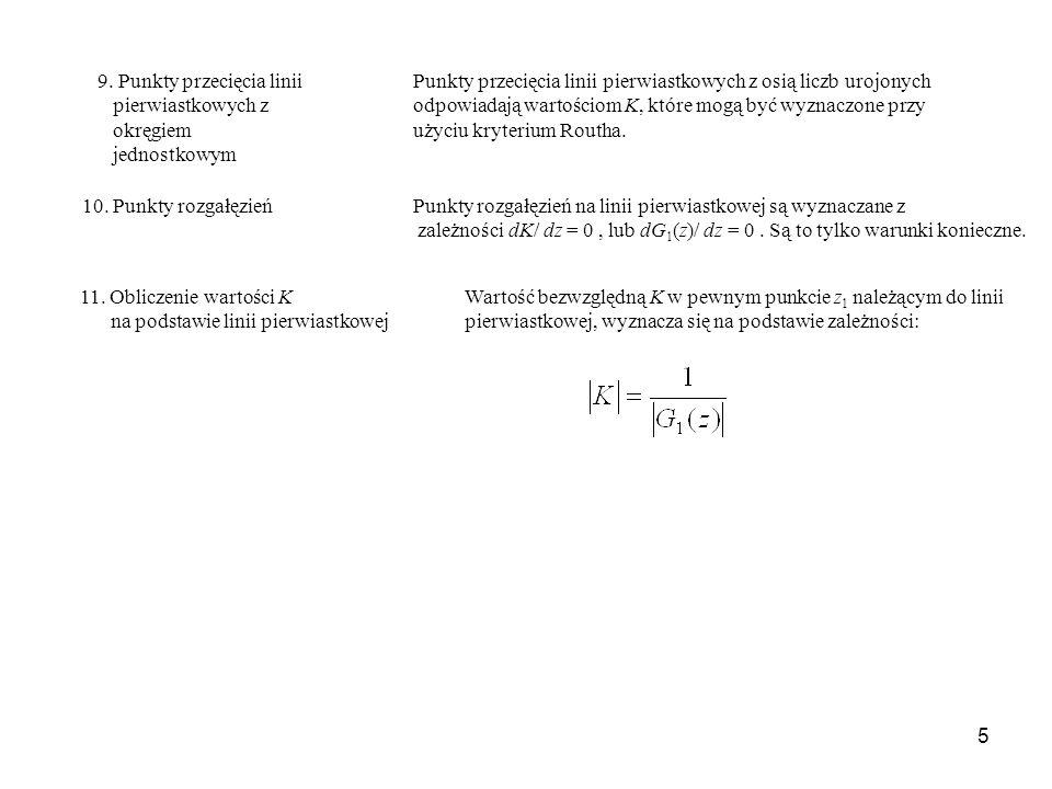 5 9. Punkty przecięcia linii Punkty przecięcia linii pierwiastkowych z osią liczb urojonych pierwiastkowych zodpowiadają wartościom K, które mogą być