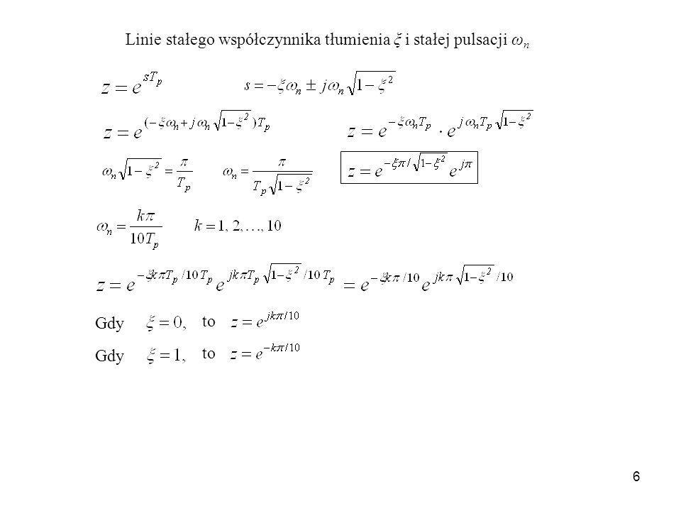 6 Linie stałego współczynnika tłumienia ξ i stałej pulsacji ω n Gdy to Gdy to