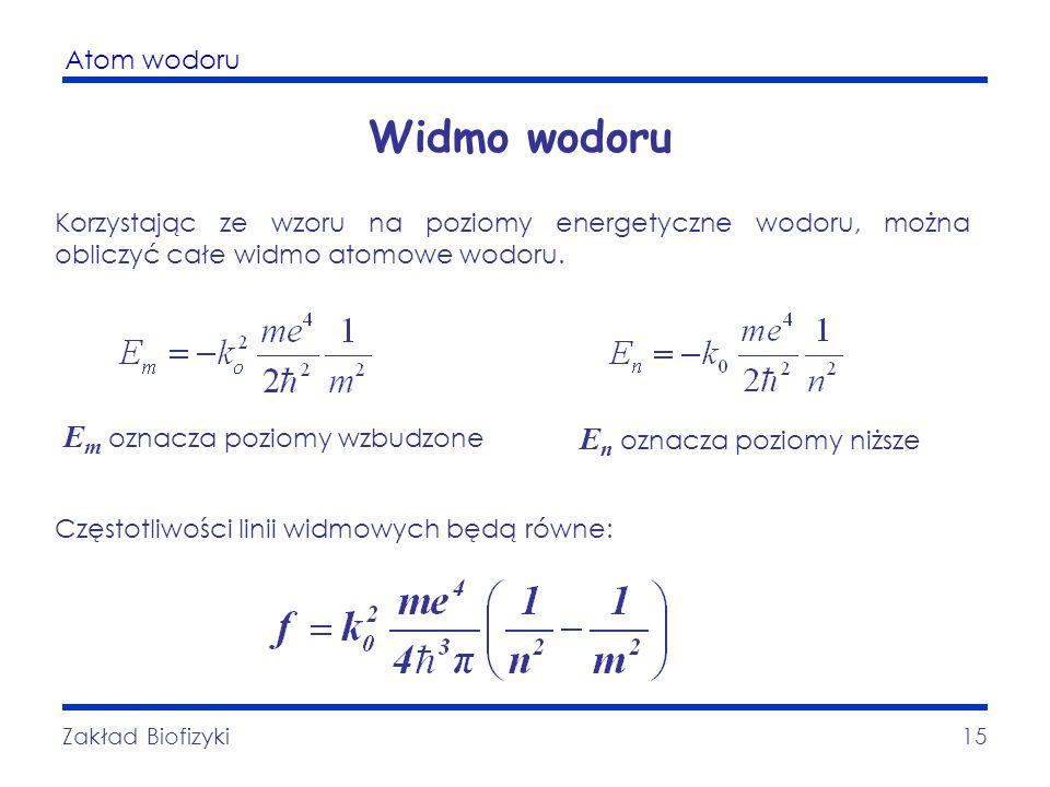 Atom wodoru Zakład Biofizyki15 Widmo wodoru Korzystając ze wzoru na poziomy energetyczne wodoru, można obliczyć całe widmo atomowe wodoru. E m oznacza