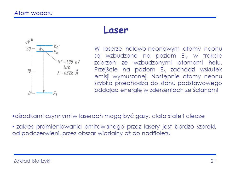 Atom wodoru Zakład Biofizyki21 Laser ośrodkami czynnymi w laserach mogą być gazy, ciała stałe i ciecze zakres promieniowania emitowanego przez lasery