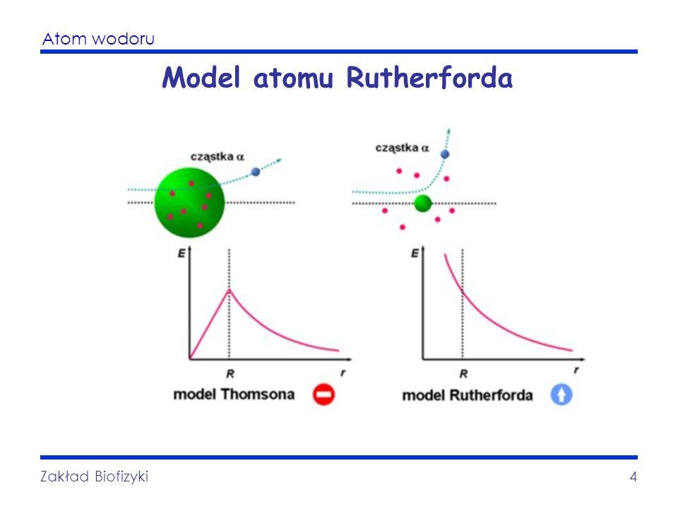 Atom wodoru Zakład Biofizyki4 Model atomu Rutherforda