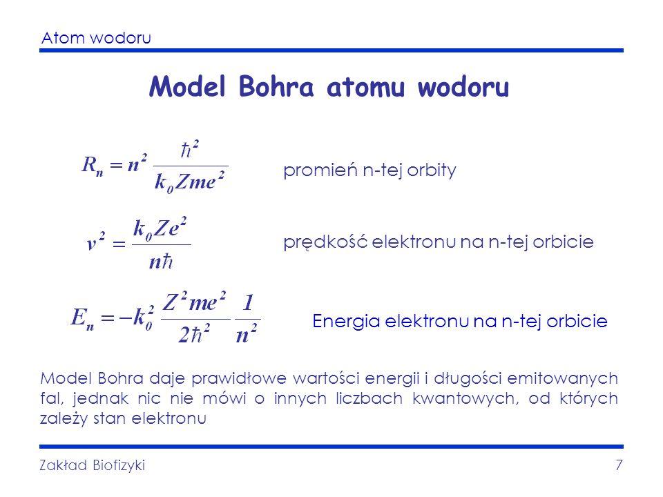 Atom wodoru Zakład Biofizyki7 Model Bohra atomu wodoru promień n-tej orbity prędkość elektronu na n-tej orbicie Model Bohra daje prawidłowe wartości e