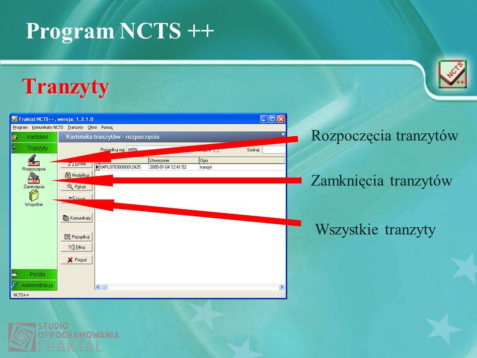 Program NCTS ++ Tranzyty Rozpoczęcia tranzytów Zamknięcia tranzytów Wszystkie tranzyty
