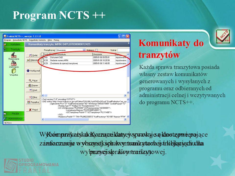 Program NCTS ++ Komunikaty do tranzytów Każda sprawa tranzytowa posiada własny zestaw komunikatów generowanych i wysyłanych z programu oraz odbieranyc