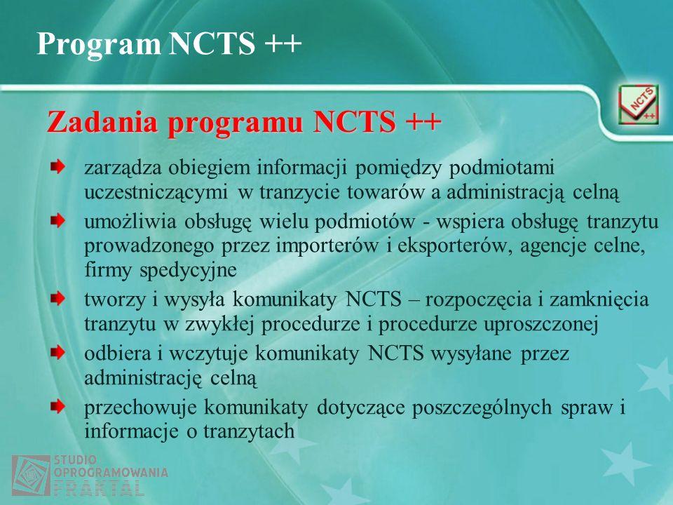 Program NCTS ++ Zadania programu NCTS ++ zarządza obiegiem informacji pomiędzy podmiotami uczestniczącymi w tranzycie towarów a administracją celną um