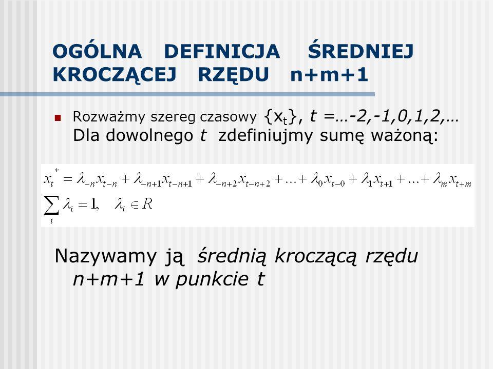 OGÓLNA DEFINICJA ŚREDNIEJ KROCZĄCEJ RZĘDU n+m+1 Rozważmy szereg czasowy {x t }, t =…-2,-1,0,1,2,… Dla dowolnego t zdefiniujmy sumę ważoną: Nazywamy ją
