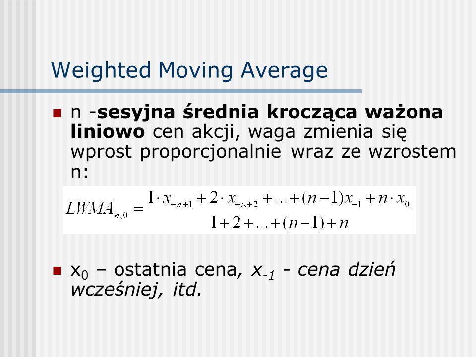 Weighted Moving Average n -sesyjna średnia krocząca ważona liniowo cen akcji, waga zmienia się wprost proporcjonalnie wraz ze wzrostem n: x 0 – ostatn