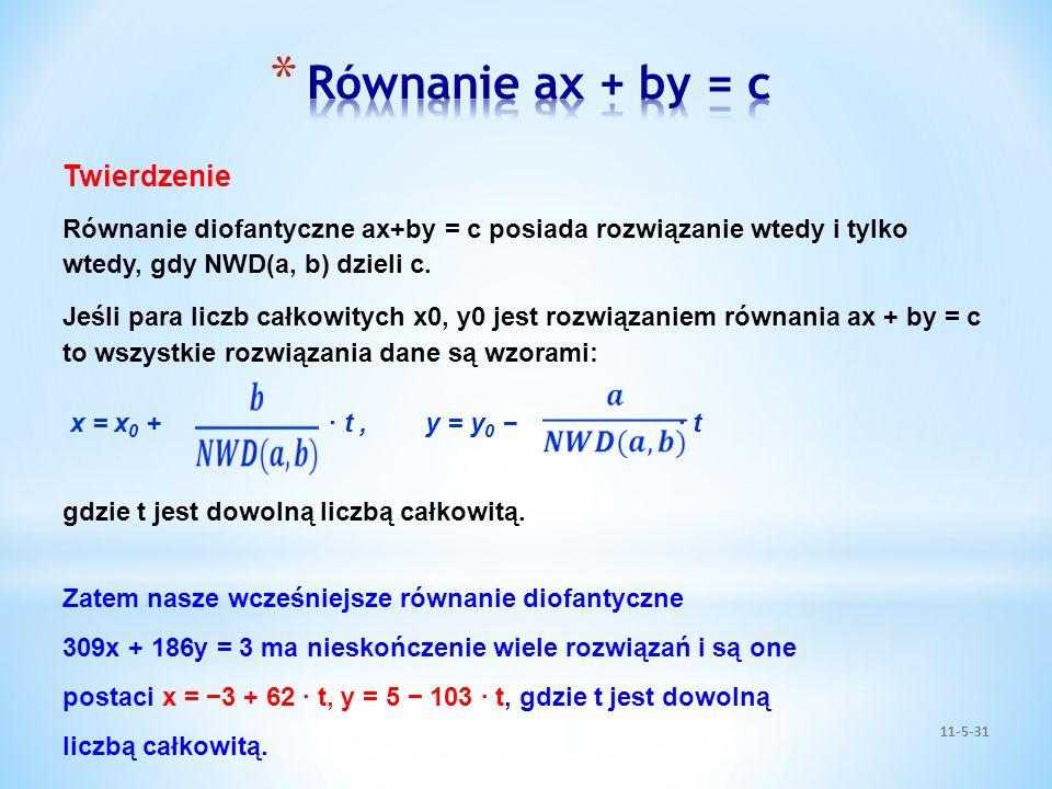 11-5-31 Twierdzenie Równanie diofantyczne ax+by = c posiada rozwiązanie wtedy i tylko wtedy, gdy NWD(a, b) dzieli c. Jeśli para liczb całkowitych x0,