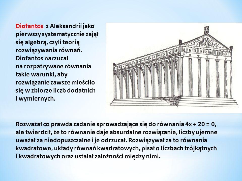 Diofantos z Aleksandrii jako pierwszy systematycznie zajął się algebrą, czyli teorią rozwiązywania równań. Diofantos narzucał na rozpatrywane równania