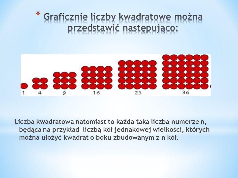 Liczba kwadratowa natomiast to każda taka liczba numerze n, będąca na przykład liczbą kół jednakowej wielkości, których można ułożyć kwadrat o boku zb